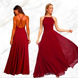 Lulu's | Mythical Kind of Love Wine Red Maxi Dress